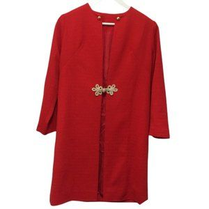 VINTAGE RETRO RED COAT sz 12 Chinese inspired 1960s gold tone buttons
